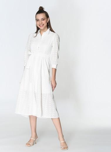 Loves You Astarlı Fisto Gömlek Elbise Beyaz